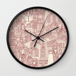 vintage halloween claret ivory Wall Clock