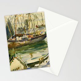 Ships in Harbor coastal nautical landscape painting by Hayley Lever Stationery Cards