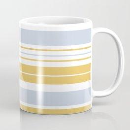 Summer Stripes Pattern Baby Blue Mustard White Coffee Mug