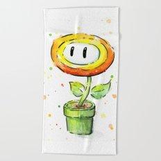 Fire Flower Watercolor Painting Mario Game Geek Art Beach Towel