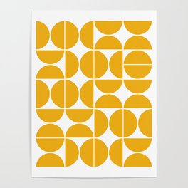 Mid Century Modern Geometric 04 Yellow Poster