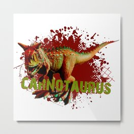 Bad Carnotaurus Splashing Blood Green and Red Metal Print