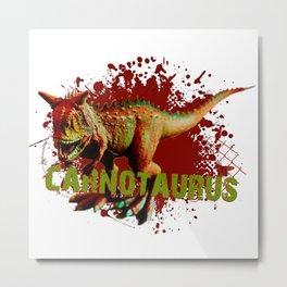 Bad Carnotaurus Splashing Blood Green and Red Metal Print