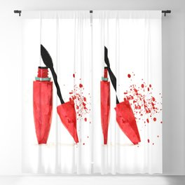 Red mascara fashion watercolor illustration Blackout Curtain