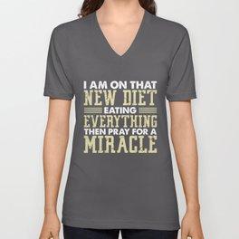 Dieter Gift On New Diet Eat Everything Hope for Miracle Diet Humor Unisex V-Neck