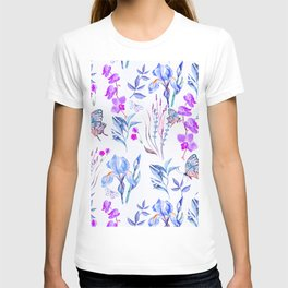 Modern purple blue watercolor hand painted orquid butterfly T-shirt