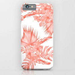 Tropical Palm Leaves Hibiscus Flowers Deep Coral iPhone Case