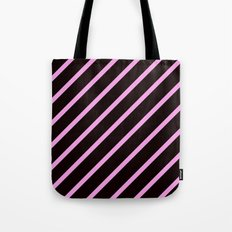 Pink & Black Stripes Tote Bag