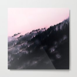 Watercolour Pink Fog Forrest Metal Print