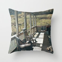 Front porch snooze Throw Pillow