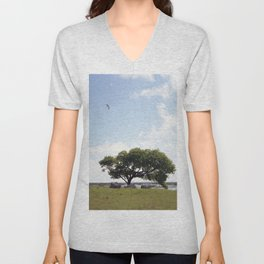 The tree at Exit 6 Unisex V-Neck