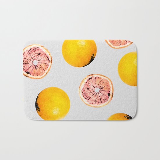 Grapefruit Pattern #society6 #decor #buyart Bath Mat