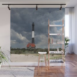 Dramatic Sky Over Fire Island Light Wall Mural