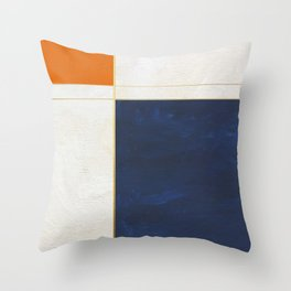 Orange, Blue And White With Golden Lines Abstract Painting Throw Pillow