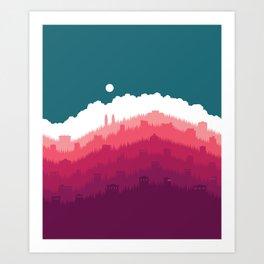 Sunlight Over the Hill No. 1 Art Print