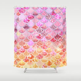 Rosegold & Gold Trendy Glitter Mermaid Scales Shower Curtain