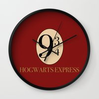 harry potter Wall Clocks featuring HARRY POTTER by Sophie