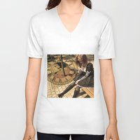 clockwork V-neck T-shirts featuring Clockwork lady by Catherine Mitchell