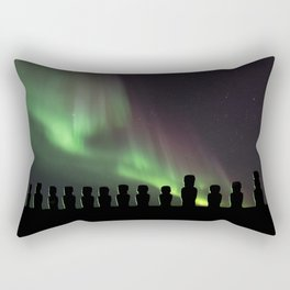 Northern Lights Easter Island Moai Rectangular Pillow