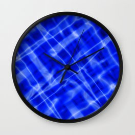 Pastel metal mesh with blue intersecting diagonal lines and stripes. Wall Clock