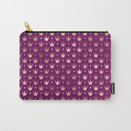 Purple & Rose Gold Crown Pattern Carry-All Pouch