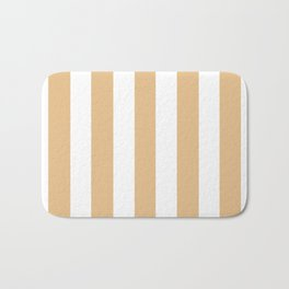 Gold (Crayola) pink - solid color - white vertical lines pattern Bath Mat