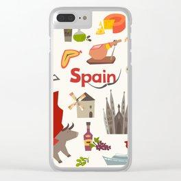 Spain traditional symbols set. Travel tourist element.Traditional spainish corrida, flamenco, guitar Clear iPhone Case