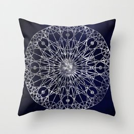 Rosette Window - Midnight Blue Throw Pillow