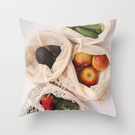 Fresh organic fruits and vegetables in cotton eco bags Throw Pillow