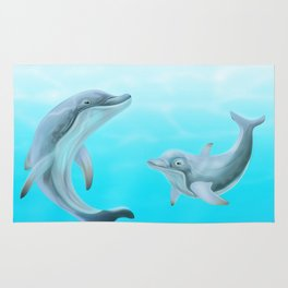 Dolphins Swimming in the Ocean Rug