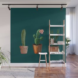 Three Cacti On Green Background Wall Mural