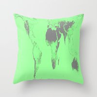 world map Throw Pillows featuring World Map : Gall Peters Seafoam Green by 2sweet4words Designs