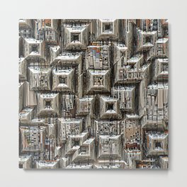 Abstract Geometric City Collage Metal Print
