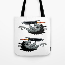 Grim Reaper launching missile. Tote Bag