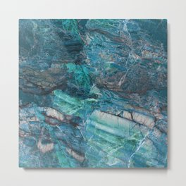 Image Of Blue Marble Stone Texture Metal Print