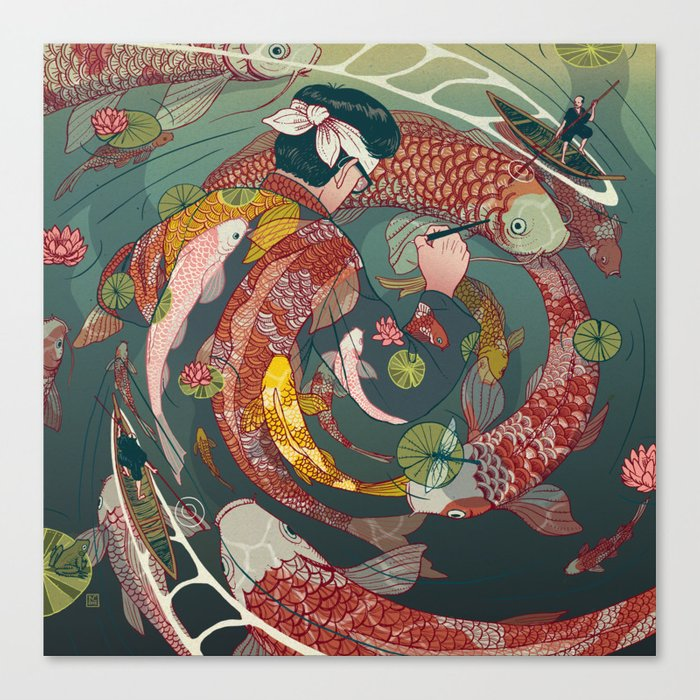 Ukiyo-e tale: The creative circle Canvas Print