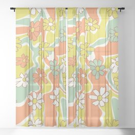 Floral 70s Swirl Sheer Curtain