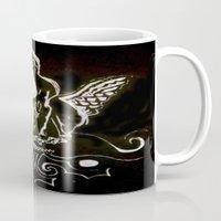 angel wings Mugs featuring Black (Wings/Angel) by Alexa Brooke Rutledge