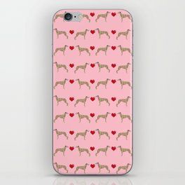 Whippet love hearts dog breed pet portrait whippets pure breed dog gifts iPhone Skin