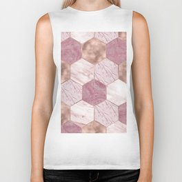 Pink marble honeycomb with rose gold accents Biker Tank