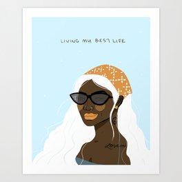 Shades, Lip Gloss & Bandana - illustrated cool girl Art Print
