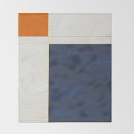 Orange, Blue And White With Golden Lines Abstract Painting Throw Blanket