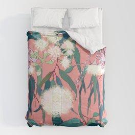 Australian Gumnut Eucalyptus Floral in White  + Dusty Peach Comforters