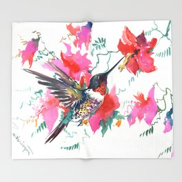 Flying Hummingbird and Pink Flowers Throw Blanket