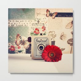 Retro Camera and Red Flower (Retro and Vintage Still Life Photography) Metal Print