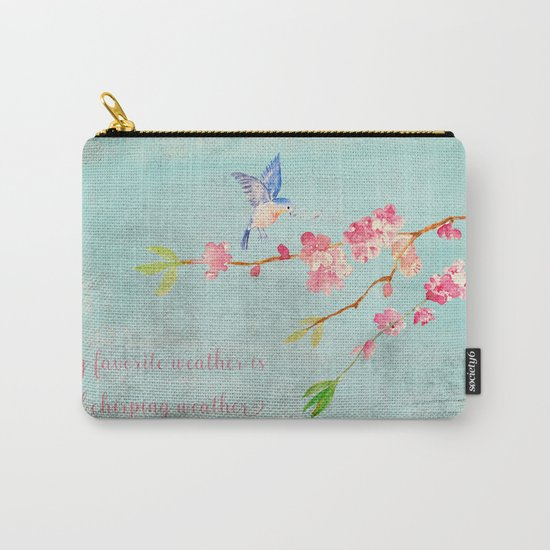 My favorite weather - Romantic Birds Cherryblossoms and Spring Typography on aqua Carry-All Pouch