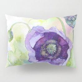 Watercolor blue poppy flowers Pillow Sham