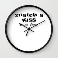 snatch Wall Clocks featuring Snatch A Kiss Black Text by taiche