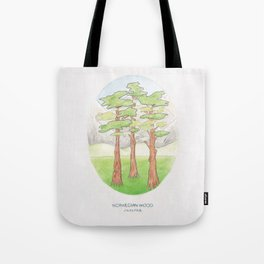 Haruki Murakami's Norwegian Wood // Illustration of a Forest and Mountains in Pencil Tote Bag