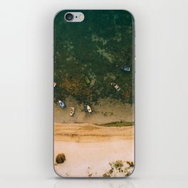 Aerial view of a Lagoon with boats iPhone Skin